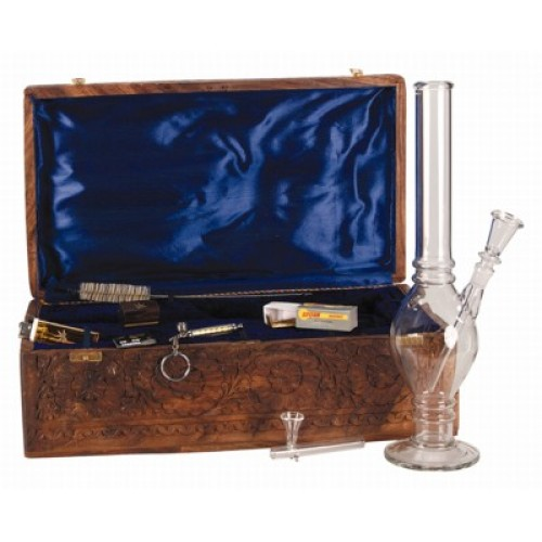 Bong / Water pipe - glass - in wood box with accessoiries - 37 cm