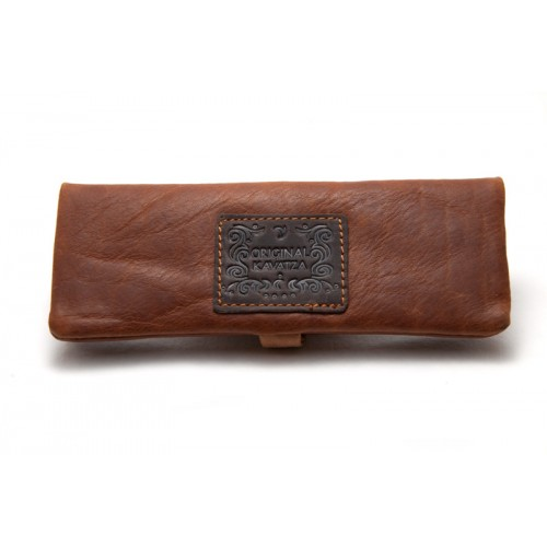 Kavatza mini pouch cognac brown leather