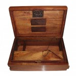 Stash box -  wood - Kavatza - Persian logo on top - built in rolling system