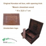Stash box - wood - Kavatza - Amsterdam logo on the box - inside a built in rolling system