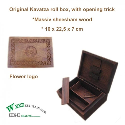 Stash box - wood - Kavatza with a flower on top -  rolling system inside